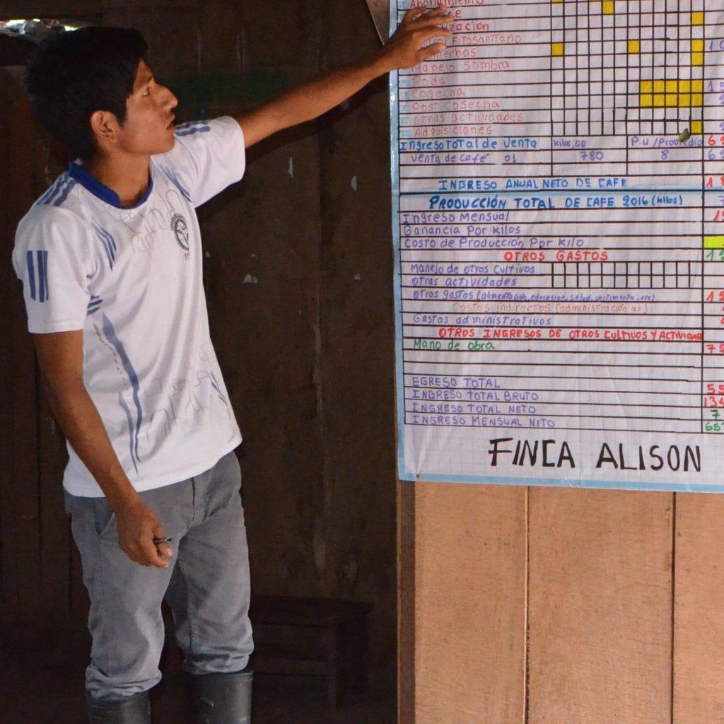Ein Jugendlicher präsentiert Zahlen und Pläne zu seinem eigenen Kleinunternehmen.