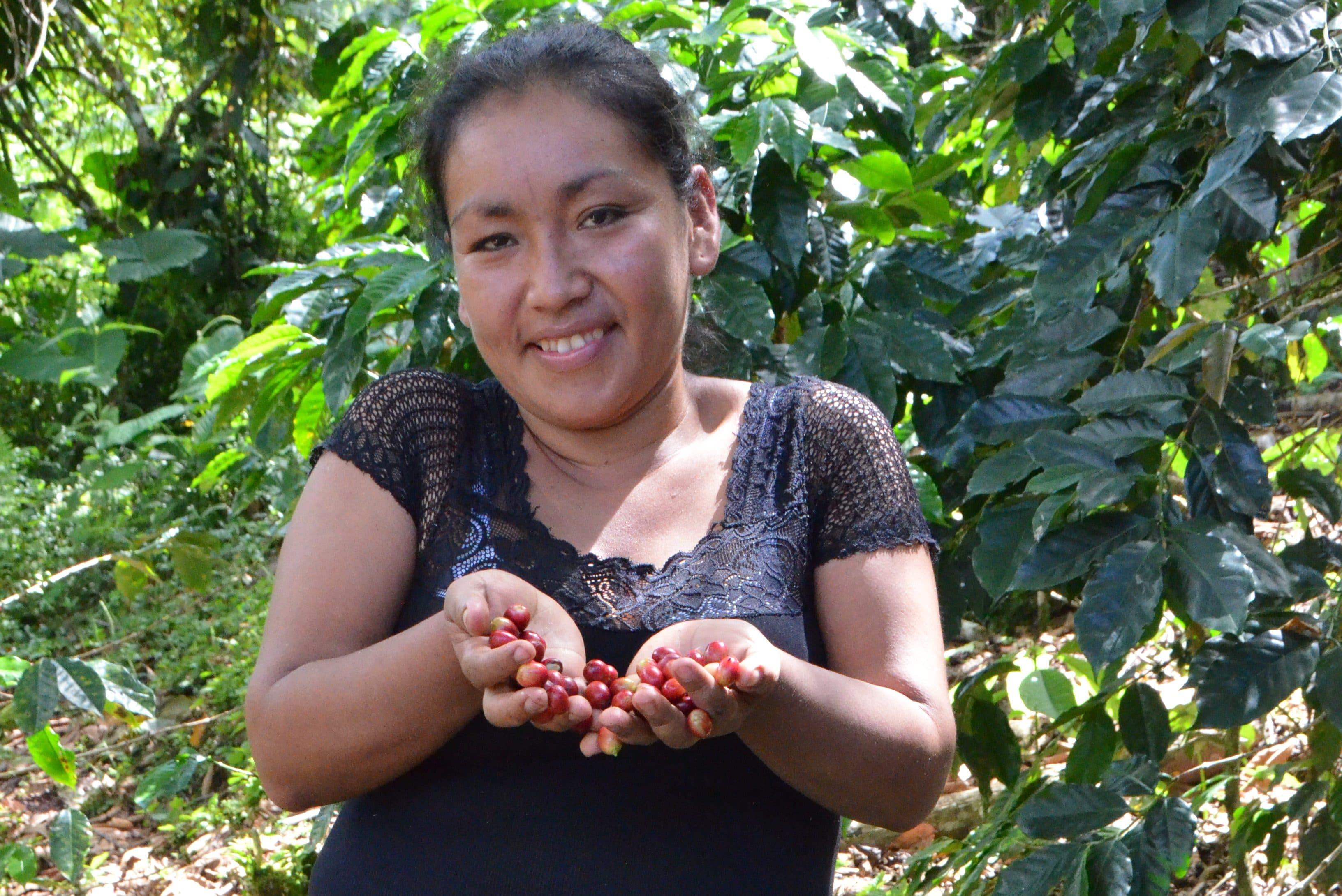 Junge Frau aus Peru zeigt ihre frisch geernteten Kaffeebohnen.