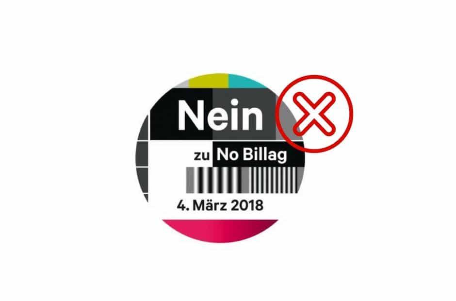 Logo von Nein zu No Billag: Rundes Testbild mit der Aufschrift der Parole Nein zu No Billag am 4. März.