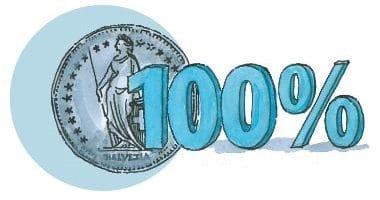Eine von von Hand gemalte 1-Franken-Münze.