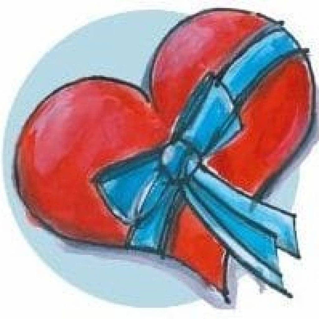 A painted heart with a blue ribbon.