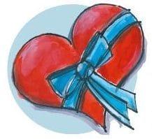 Ein gemaltes Herz mit einer blauen Schleife.