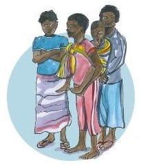 Drei gemalte schwarze Jugendliche. Einer davon hat ein Kleinkind im Tragetuch am Rücken.