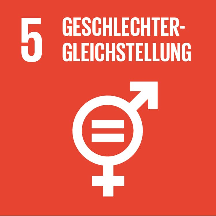 Red background, the sign for the sexes together in one and the word gender equality.