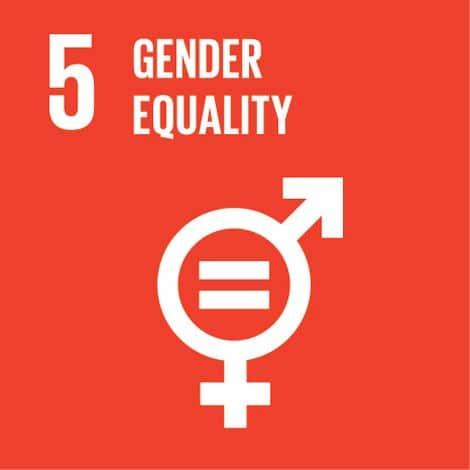 Roter Hintergrund, die Zeichen für die Geschlechter zusammen in einem und dem Wort Gender Equality.