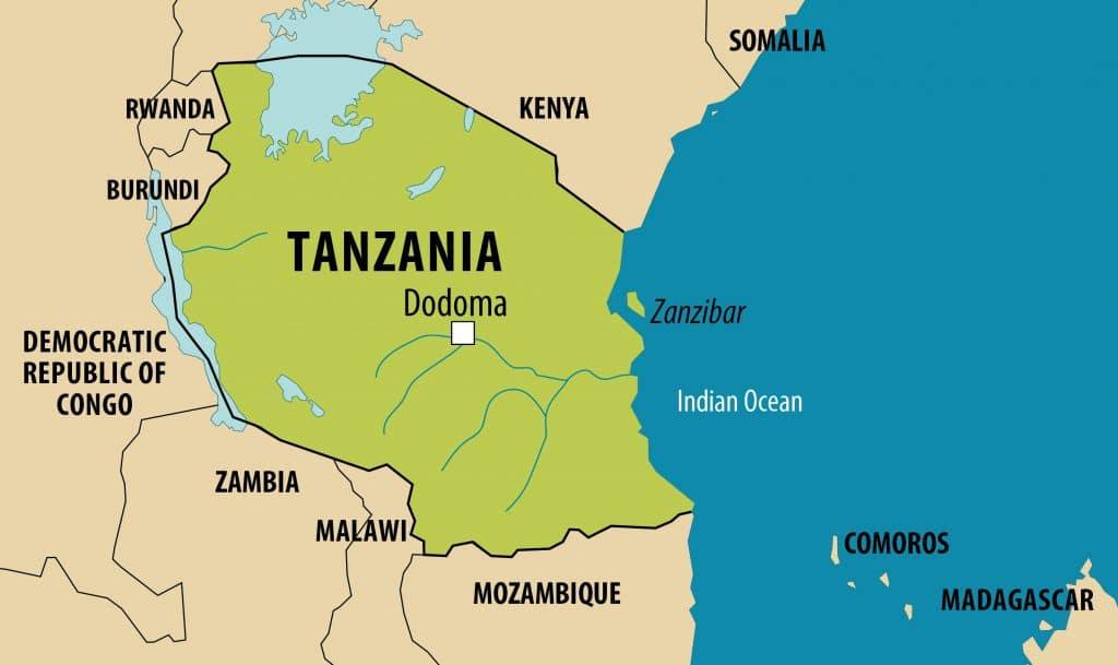Simplified map of Tanzania