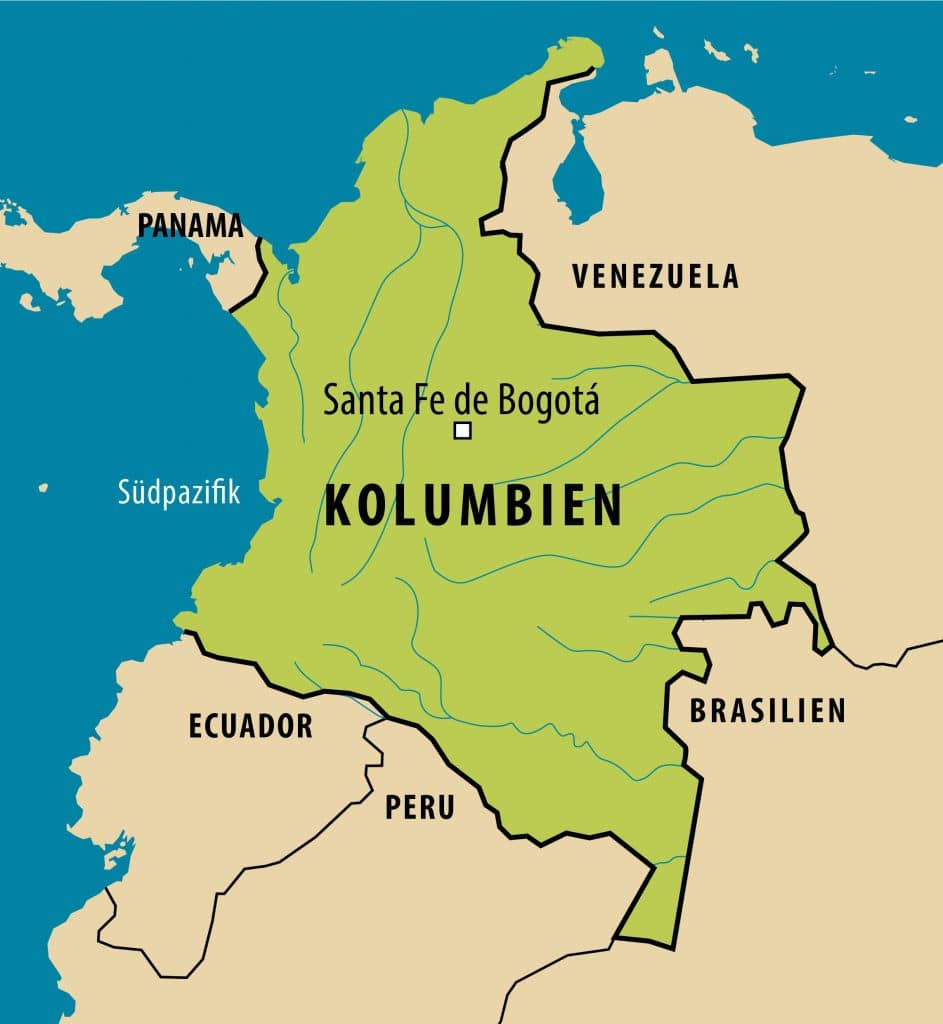 Simplified map of Colombia