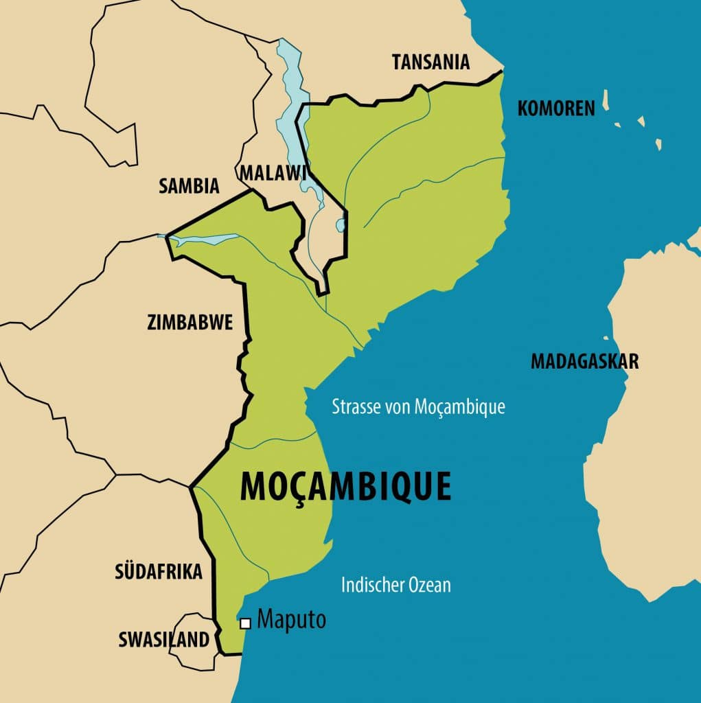 Simplified map of Mozambique