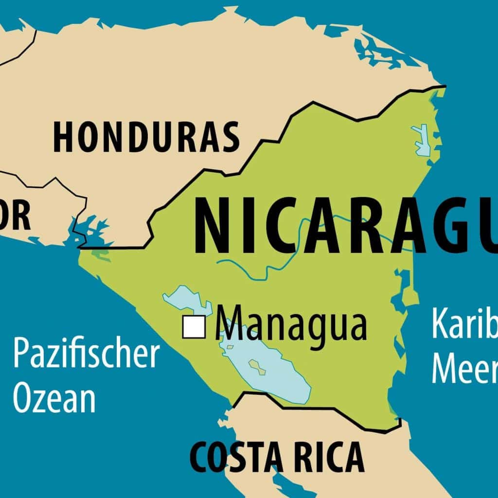 Simplified map of Nicaragua