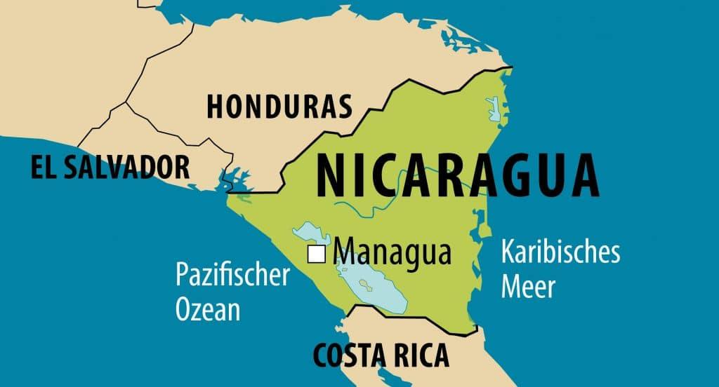 Vereinfachte Landkarte von Nicaragua