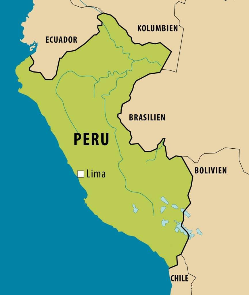 Vereinfachte Landkarte von Peru