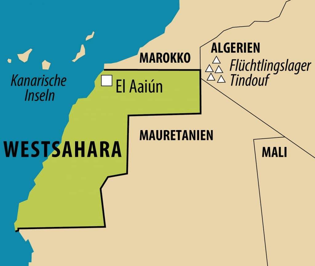 Vereinfachte Landkarte der Westsahara