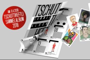 Bild vom tschutt heftli Sammelalbum 2018 und einigen Sammelbildern.