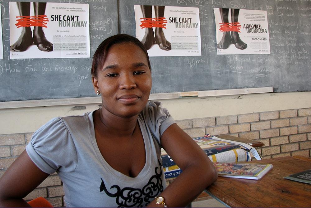 Ein Teilnehmerin eines Workshops mit dem Thema human trafficking.