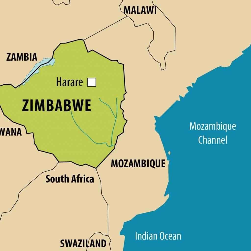 Simplified map of Zimbabwe