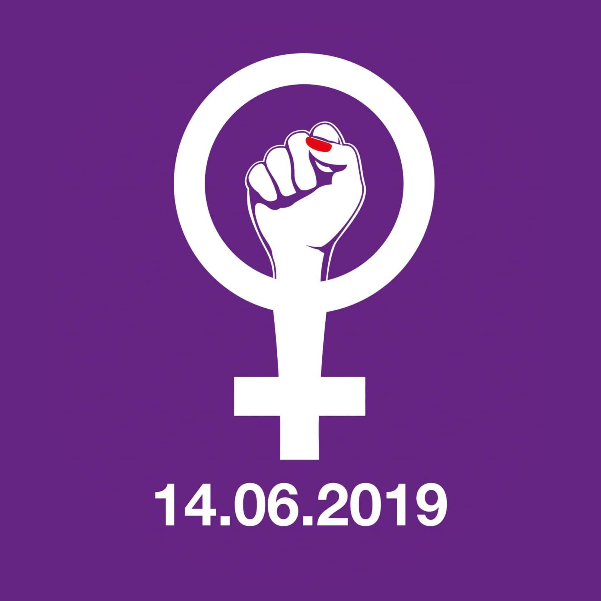 Women's strike 14.6. Fist logo on purple background