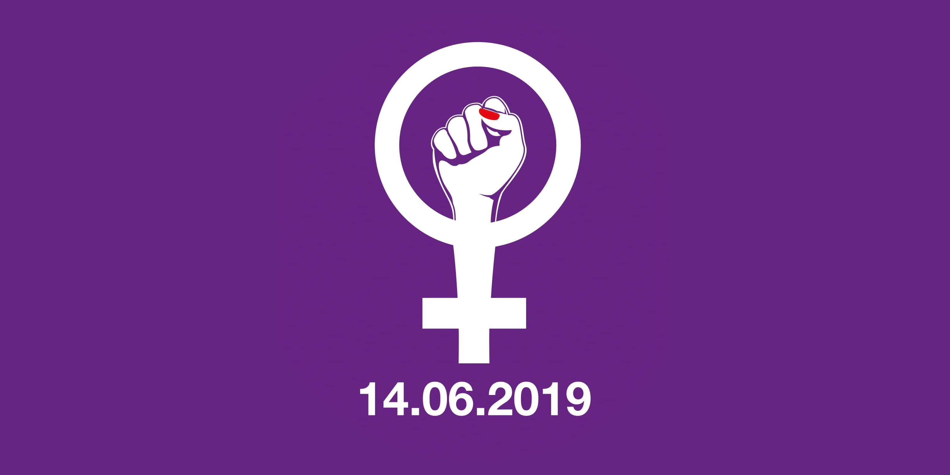 Frauenstreik 14.6. Faust-Logo auf violettem Grund
