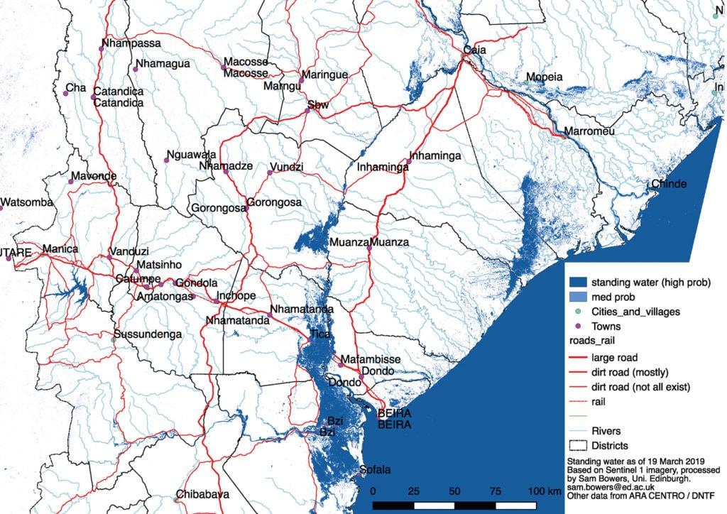 Karte vom Katastrophengebiet in Moçambique, die zeigt, wie das Meer das Land überschwemmt hat.