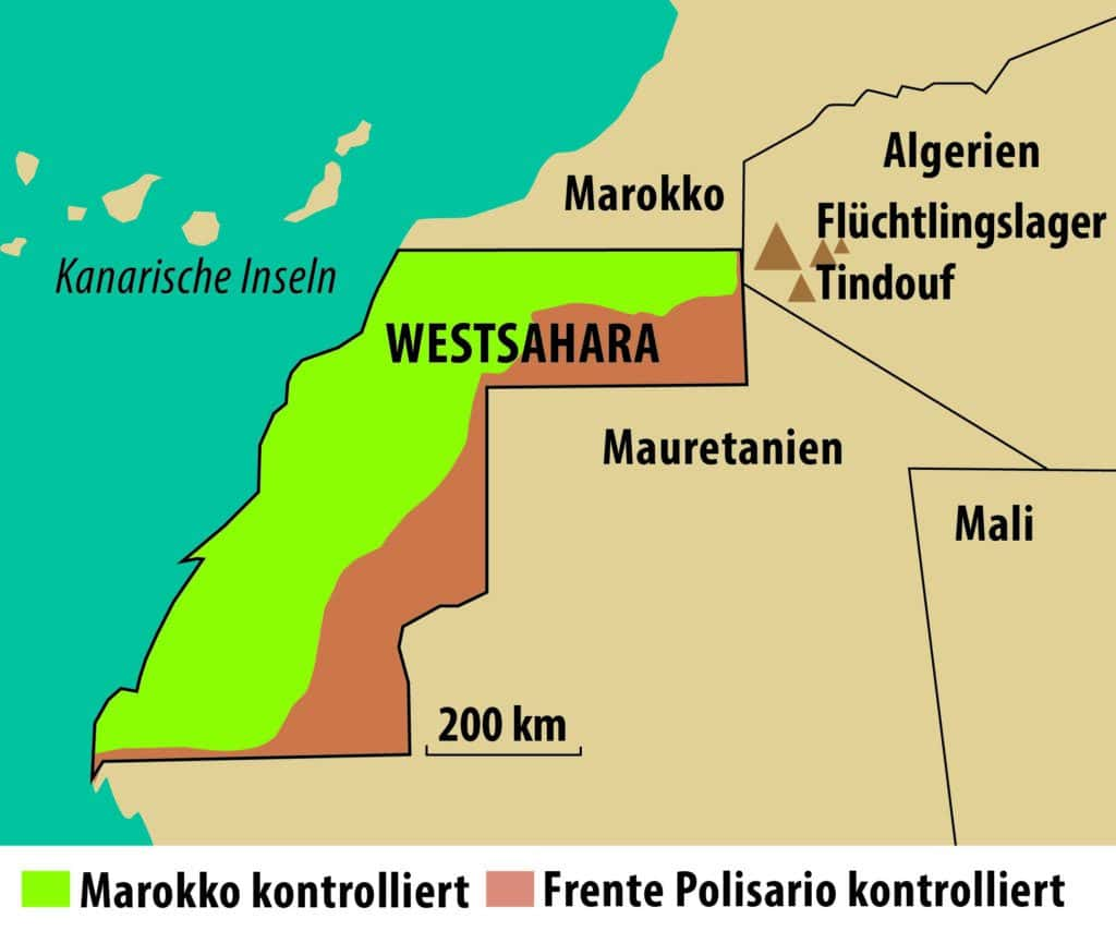 Map from the front in Western Sahara