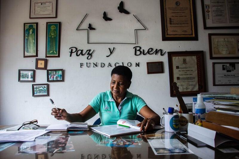 Elodia Nieves Balanta in her office